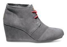 On our back to school list: TOMS Charcoal Suede Desert Wedge with accent lacing.