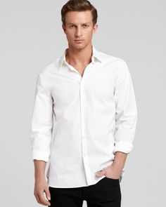 John Varvatos Collection Solid Button Down Shirt - Slim Fit