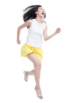 Stock Photo : Young woman running
