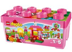 This starter set is a great way to introduce your young girl to the building and rebuilding fun that comes with every LEGO DUPLO set! The All-In-One Pink Box of Fun features special elements such as . Toddler Girl Gifts, Toddler Toys, Kids Toys, Lego Duplo Sets, Duplo Box, Toys R Us, Gifts For 3 Year Old Girls, Educational Toys For Toddlers, Lego Construction