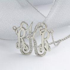 Monogram Pendant with Diamonds in 14k Gold
