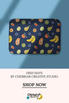 Mixed Fruit Dish Mat by Cherbear Creative Studio Fruit Dishes, Etsy Business, Creative Studio, Social Media Marketing, Fabric Design, Zip Around Wallet, Mixed Fruit, Graphic Design, Blog
