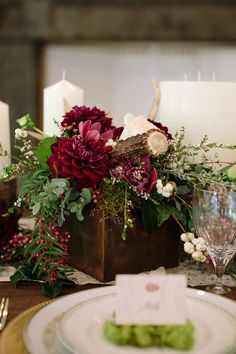 Jewel Toned Autumn Woodland Wedding Shoot Rustic Wood and Antler Centerpiece with Burgundy Dahlias Wedding Table Centerpieces, Wedding Flower Arrangements, Wedding Table Settings, Wedding Bouquets, Wedding Decorations, Hydrangea Arrangements, Centrepieces, Table Decorations, Fall Wedding Colors