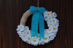 summer wreaths burlap wreath daisy flowers wreaths by Kreacje