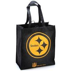 """Team Beans Pittsburgh Steelers Reusable Tote Bag by Unknown. $1.99. Toss your tailgating must-haves in the eco-friendly Team Beans® NFL® reusable tote bag. It's decorated with the team's logo, an official NFL® shield and the phrase, """"Reduce. Reuse. Recycle."""" on the side."""