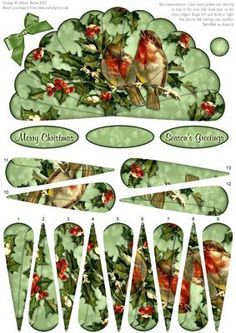 """Christmas Holiday Birds Fan Sheet on Craftsuprint designed by Julene Harris - This lovely fan has decoupage fan elements that overlap one another to create a beautiful image of two birds sitting together in branches of holly. Fan panels are numbered in order. This sheet could be used to make two cards, or layer elements onto main image to create one card. Included labels: """"Merry Christmas"""", """"Season's Greetings"""", and one blank label you can customize as you wish. Embellish with ribbon, ..."""
