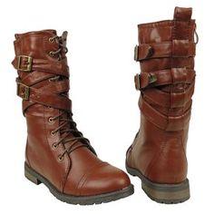 clara-20k New Buckle Zipper Kids Youth Combat Low Heel Boots Shoes Light Brown