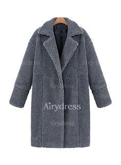 Coats - $33.09 - Polyester Beige Black Gray Long Long Sleeve Lapel Coats & Jackets (1715124939)
