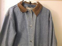 Woolrich Denim Jacket Vintage Snap Front Leather Collar  Size Medium 4 Pocket  #Woolrich #BasicJacket