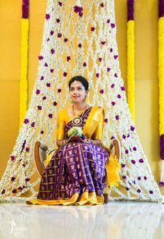 Bridal Bed to the Mehndi Swing - Bridal Seat Ideas from Rent Real Weddings to spruce up your Mehndi Decor - Witty Vows- innovative mehndi decor ideas Indian Baby Showers, Indian Bridal Sarees, Mehndi Decor, South Indian Bride, Saree Wedding, Wedding Mandap, Telugu Wedding, Wedding Dresses, Backdrop Wedding
