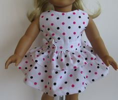 American Girl Doll Clothes  Polka Dot by EverythingNice4Dolls, $22.00. The bodice is fully lined .The skirt is made from two ruffles sewn together and it has a fabric bow sewn to the waistband. It has a Velcro closure in the back. The dress is made from a pattern from Kotton Candy doll fashions.