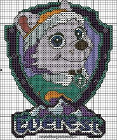 Paw patrol plastic canvas patterns toys figures clothes skye birthday gifts everest toy marshall zuma vehicles games ideas chase truck tracker new slippers rocky pajamas racers rubble ryder sale de… Paw Patrol Everest, Paw Patrol Toys, Paw Patrol Party, Cross Stitch Designs, Cross Stitch Patterns, Crochet Patterns, Cross Stitch For Kids, Cross Stitch Baby, Escudo Paw Patrol