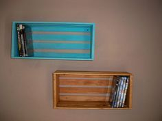 Crate Shelving,Wood Crate Shelving,Crate shelf's Wall Decor Shelf's,Wall Shelf For Pictures,DVD Storage Crate, Wood Crate Centerpiece, on Etsy, $22.00