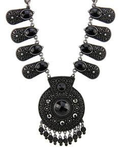 Maxi colar grafite com pedras pretas Mila Coelho
