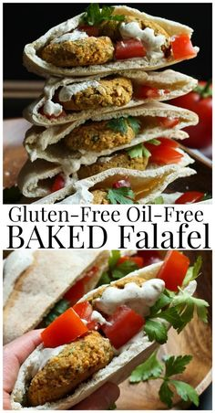 Gluten-free oil-free baked falafel. Healthy, easy, few ingredients and has a nice kick of heat. These are baked, not fried and so good in pita bread.