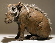 Clay Warthog Sculptures. Nick Mackman.