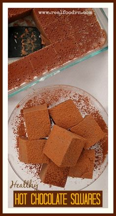 Healthy Hot Chocolate Squares. A delicious snack that is full of healthy fats and antioxidants. I even eat them for breakfast when I am in a hurry. They can also be used as marshmallows in your hot chocolate or morning coffee. www.realfoodrn.com #paleo
