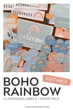 These modern rainbow labels   signs will bring a bit color to your classroom without overwhelming your space! The neutral rainbows in soothing greens, soft blue, earthy oranges plus print friendly white, will help calm your classroom. Easy to edit, choose your label or sign, use our fonts or add your own then print! Label desks, trays, tubs, lockers, teacher and office supplies... the choices are limitless! Ready to print clock labels, table numbers, reading group signs, number lines and… Classroom Labels, Classroom Displays, Clock Labels, Number Lines, Behaviour Management, Reading Groups, Project Based Learning, Abstract Watercolor, Table Numbers
