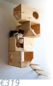 Geometrical Wooden Cat Tree Catissa imagines furniture for cats. One of their creations is a cat tree with geometrical shapes that can be fixed on the wall. Made from wood, this creation offers to.
