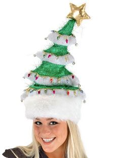This Christmas tree hat is 21 inches tall with a spring built in to provide movement with the slightest turn of your head. This hat is made of green and white tinsel material for a shiny finish, and is embellished with metallic ornament lights and luxurious faux fur around the brim.