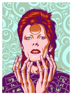 David Bowie. A Flood Gallery Exclusive  Released in extremely limited quantities, hand drawn, hand numbered and signed by the artist  Stunning four metallic ink silk screen onto white, holo foil, sparkle foil, or gold suede  Designed by Justin Hampton.