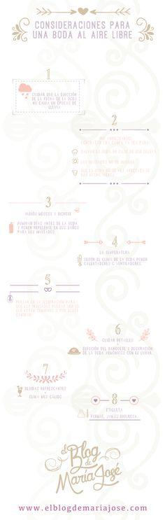 ¿Te casas al aire libre? Toma nota de estas consideraciones para la organización de la boda #bodas #elblogdemaríajosé #airelibre #weddings #infografía