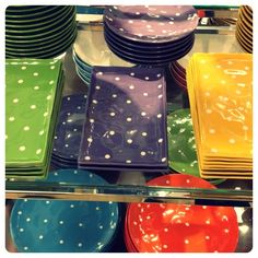 Spotted: cute polka dot dishes at Sears. Some colours are on sale. Discover Yourself, Just Love, Tablescapes, Party Time, Polka Dots, Decor Ideas, Tumblr, Colours, Dishes