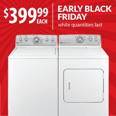 Refresh your laundry room with a new washer and electric dryer from Maytag. Black Friday prices start now at Warners' Stellian. Models: MVWC360AW/MEDC300XW. Gas dryer extra.