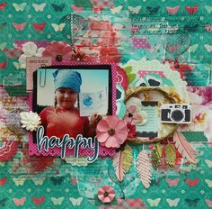 Happy | Scrapbook layout with mixed media background