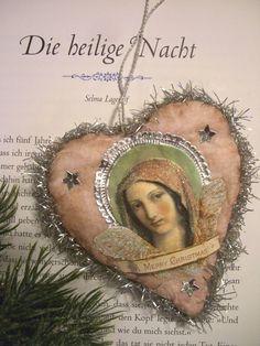 ** Vintage shabby WATTE-HERZ mit ENGEL u TAUBE Tinsel * Christbaumschmuck 12cm | eBay