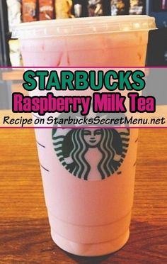 Raspberry Milk Tea Try this Starbucks version of Raspberry Milk Tea! ‪ this Starbucks version of Raspberry Milk Tea! Bebidas Do Starbucks, Starbucks Tea, Starbucks Secret Menu Drinks, Starbucks Frappuccino, Starbucks Recipes, Starbucks Hacks, Healthy Starbucks, Starbucks Refreshers, Milk Tea Recipes