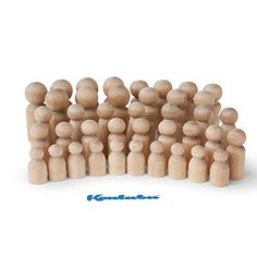 Natural Unfinished Wooden Peg Doll Bodies - Quality People Shapes - Great for Arts and Crafts - Birch and Maple Wood Turnings - Artist Set of 40 in 5 Different Shapes and Sizes *** Be sure to check out this awesome product.