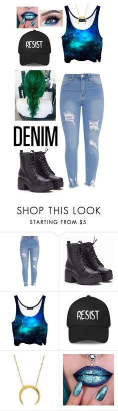 """Distressed Denim"" by brightheart593 ❤ liked on Polyvore featuring denim and galaxy"