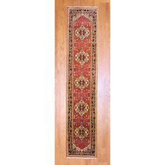 Indo Hand-knotted 2'6 x 12' Heriz Red/ Black Wool Rug (India) - Overstock™ Shopping - Great Deals on Runner Rugs