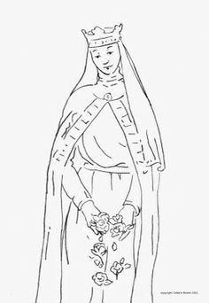 Elizabeth, queen of portugal - coloring page Catholic Crafts, Catholic Quotes, Coloring For Kids, Coloring Pages, Bread And Roses, Godly Play, Word Art, Portugal, Needlework