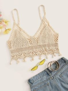 To find out about the Hollow Out Crochet Crop Cami Top at SHEIN, part of our latest Tank Tops & Camis ready to shop online today! Crochet Cami Tops, Crochet Bra, Crochet Summer Tops, Crochet Bikini Top, Crochet Crop Top, Crochet Clothes, Crochet Top Outfit, Cami Crop Top, Crop Tops