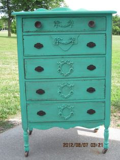 Beautiful Tall Shabby Dresser Painted in Aqua.  Free Shipping.. $650.00, via Etsy.