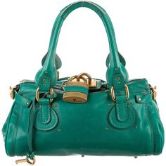 Chloe Paddington Bag ($325) ❤ liked on Polyvore featuring bags, handbags, shoulder bags, green, leather purse, shoulder strap handbags, woven leather handbag, green leather handbag and leather man bag