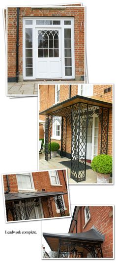 Georgian style lean-to canopy with oak roof and ceiling Lean To Roof, Wrought Iron Gates, Roof Architecture, Georgian, Porch, Ceiling Canopy, Outdoor Decor, House Ideas, Homes