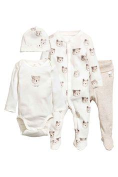 4-piece jersey set - White/Bear - Kids   H&M GB 1