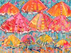 """Let's go to beach, grab your favorite beach umbrella. """"Beach Daze"""" acrylic painting by Key West artist Maggie Ruley"""