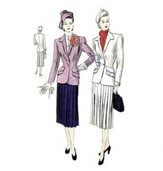 1940s Suit Pattern Fitted Jacket Pleated Skirt  by patternshop, $37.99