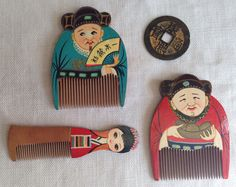 """Chinese Wood Combs Set of 3 Vtg Small Hand-Painted Made in China 2.25"""", 2.75"""" 