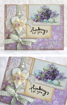 Melissa Francis Papers | pretty card | flowers | hearts | ribbon | purple and green - my favorite colors