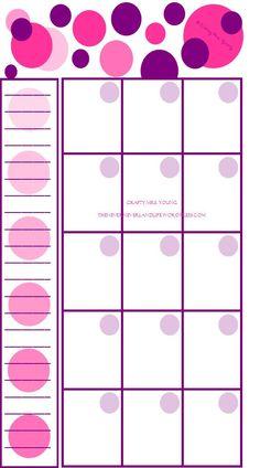 Printable Blank Pink & Purple Polka Dot Personal Filofax Monthly Calendar