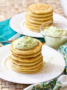 Savory Corn Cakes with Avocado Cream | ASpicyPerspective.com