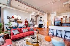 Forest Hill Lofts-1001 Roselawn Ave #116 | Must see one-of-a-kind 1 bedroom + 1 bath + office with custom open plan. Almost 1000 sf, plus huge 390 sf private roof-top terrace with south facing CN tower/cityscape views & gas BBQ line!| More info here: torontolofts.ca/LoftBuildings/Forest-Hill-LOFTS-1001-Roselawn-Ave-Toronto Concrete Column, Concrete Ceiling, Gas Bbq, Forest Hill, Rooftop Terrace, Roof Top, Lofts, Open Plan, Cn Tower
