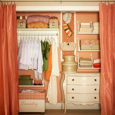 Love this closet. Take inventory of what you have, then Reconfigure your closet with shelves, drawers, and rods that fit your needs. And if your closet doors make it hard to access the corners of your closet, take them off and hang drapery panels instead. Closet Bedroom, Closet Space, Closet Curtains, Closet Redo, Closet Paint, Master Closet, Closet Makeovers, Dresser In Closet, Painted Closet