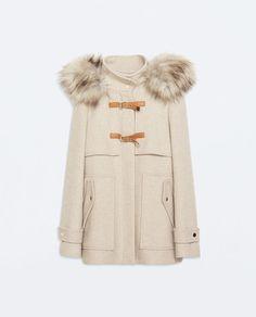 Jakke fra Zara Duffelcoat i ull med hette og pels
