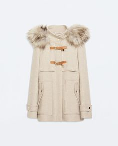 WOOL DUFFLE COAT WITH FUR HOOD from Zara